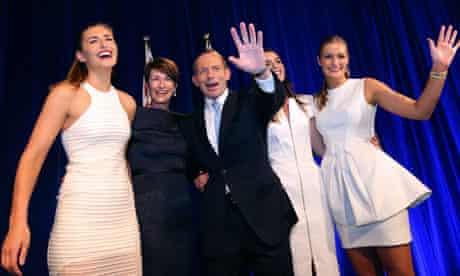Tony Abbott celebrates victory with his family