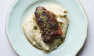 Nigel Slater's lamb with spiced parsnip mash on a plate