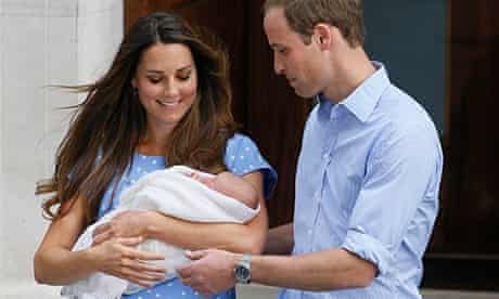 Prince George with Kate and William