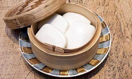 Rice buns in a bamboo pot at Flesh & Buns