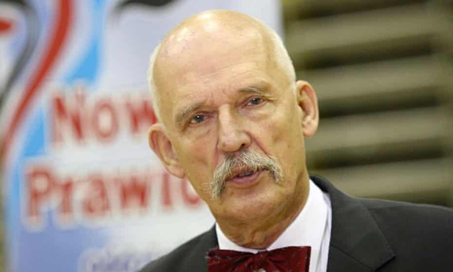 'Bizarre views': Janusz Korwin-Mikke, outspoken leader of Poland's Congress of the New Right, at a p