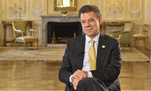 Man on a mission: Juan Manuel Santos in Bogotá before setting out on a tour of six European capitals