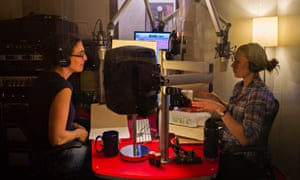 'Nitty-gritty': Sarah Koenig (left) in the studio with producer Dana Chivvis.