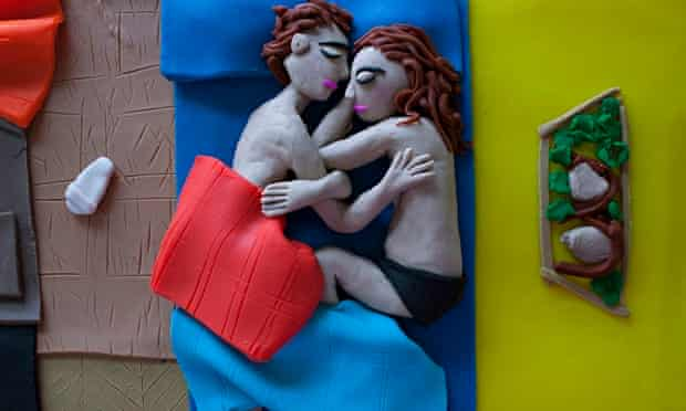 Photographs rendered in Play-Doh, books
