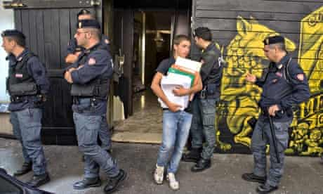 Student occupiers are evicted  from Cinema America  in Rome earlier this month.