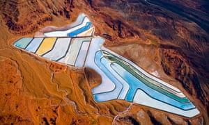 aerial shot of potash evaporation ponds