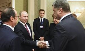 Vladimir Putin, Petro Poroshenko, Francois Hollande, Angela Merkel