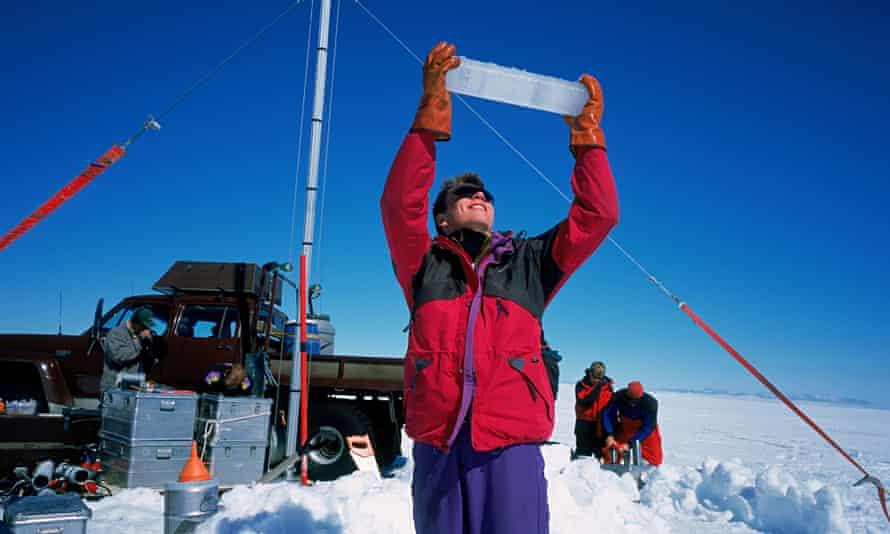 Scientist with Ice Core Langjokull Ice cap, Iceland
