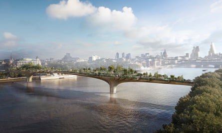 An artist's impression of the proposed London garden bridge, crossing the Thames between Temple and