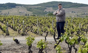 Thibault Liger- Belair on the road that divides his vineyard between two districts in central France