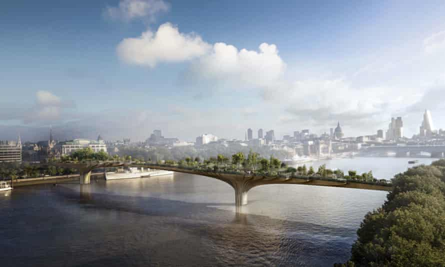 A computer-generated image of the proposed Thames pedestrian bridge, connecting  the south bank and