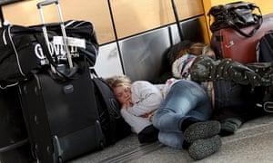 Passenger asleep at airport