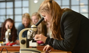 Female-friendly: sixth-formers enjoy a science lesson.