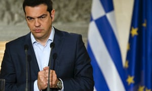 'Economic catastrophe': beleaguered Greek prime minister Alexis Tsipras at a news conference last we