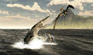 Tylosaurus and Pteranodon