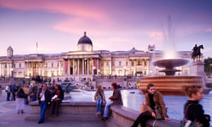 Londoners and tourists enjoy Trafalgar Square, whatever the time of day or night.