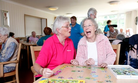 Care workers at a home for people with dementia at Linfield House in Worthing, Sussex.