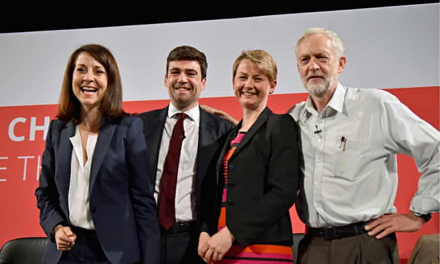 Power play: Labour leadership candidates  Liz Kendall, Andy Burnham, Yvette Cooper  and Jeremy Corby