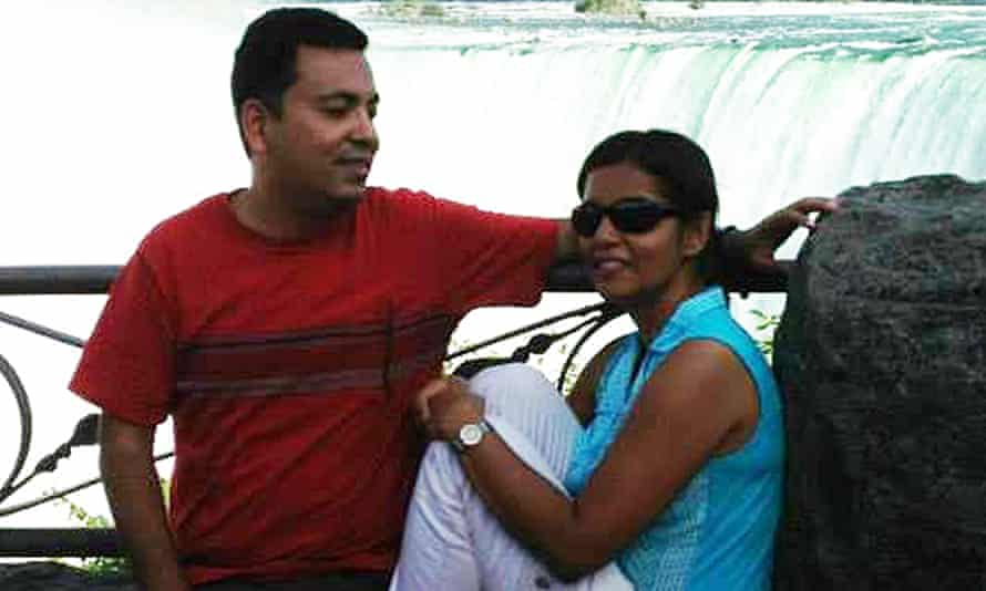 Murdered blogger Avijit Roy, pictured with his wife, Rafida Bonya Ahmed, on a tribute Facebook page.