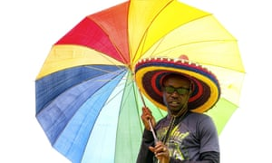 Rainbow shelter at Uganda's gay pride demonstration in Entebbe last year.