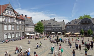 Room to spare: the cobbled market square of the pretty central German town, Goslar, one of many town