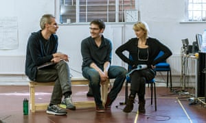 Robert Icke, centre, with Angus Wright and Lia Williams in rehearsal for Oresteia.