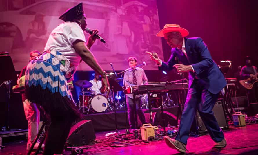 'Spectacular': David Byrne meets a Mahotella Queen during the Atomic Bomb! set.