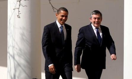 Barack Obama and Gordon Brown walk alongside the White House on Washington on 3 March 2009.