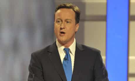 David Cameron during Thursday's televised leaders' debate.