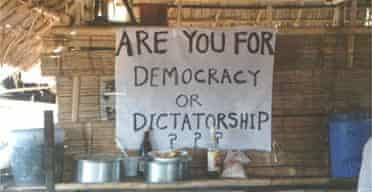 A pro-democracy banner in Burma