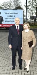 Iain Duncan Smith and his wife, Betsy, in front of a spoof campaign poster