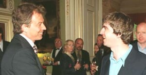 Tony Blair and Noel Gallagher at a Downing Street reception in 1997