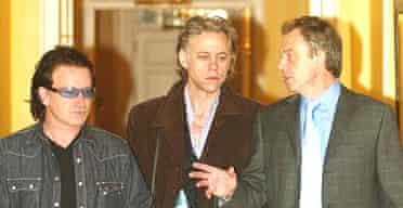 Tony Blair with Bob Geldof at Downing Street