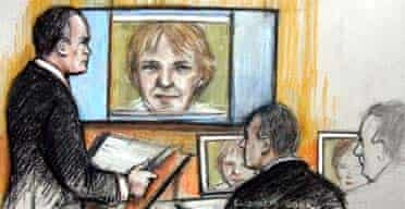 Artist's impression of Janice Kelly giving evidence to the Hutton inquiry by video link