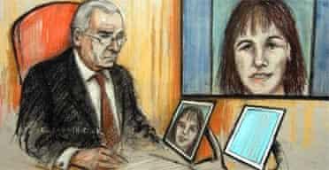 Court artist Elizabeth Cook's sketch of David Kelly's daughter, Rachel, giving evidence