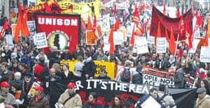 Demonstrators at the European Social Forum