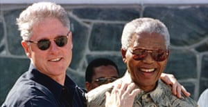 Bill Clinton with Nelson Mandela on a tour of Robben Island, 1998