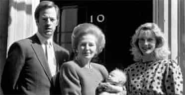 Mark Thatcher with his mother, wife and child