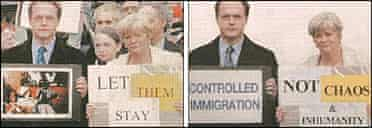 Tory candidate Ed Matts and Ann Widdecombe in before and after versions