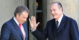 Tony Blair and Jacques Chirac after talks in Paris