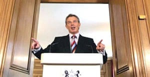 Tony Blair at his monthly televised press conference