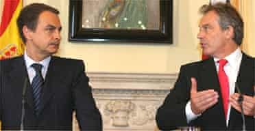 Jose Luis Rodriguez Zapatero with Tony Blair at Downing Street