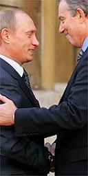 Vladimir Putin and Tony Blair at Lancaster House. Photograph: John D McHugh / AP