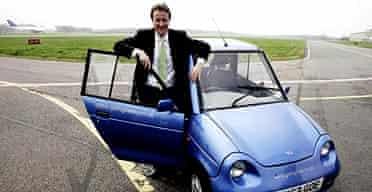 David Cameron with an electric car