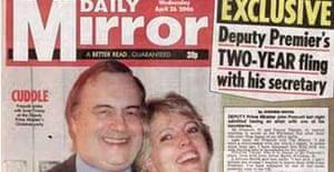 The Mirror's front page on John Prescott's affair