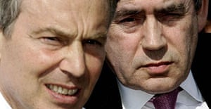 Tony Blair and Gordon Brown at Tooting and Mitcham football club, south London, on Wednesday May 3, 2006. Photograph: Andrew Parsons/WPA rota/PA.