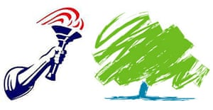 The Conservative party's previous logo, a torch, and its new one, a green tree.