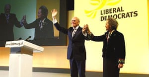 Sir Menzies Campbell, leader of the Liberal Democrats, and his wife Lady Elspeth, after he delivered his keynote speech on the final day at the party annual conference in Brighton