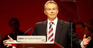 Tony Blair makes his speech to the Labour Party conference in Manchester on Tuesday September 26, 2006. Photograph: Peter Bryne/PA.
