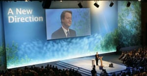 The Conservative party leader, David Cameron, delivers his first speech at his maiden party conference in Bournemouth on Sunday October 1 2006. Photograph: Lefteris Pitarakis/AP.